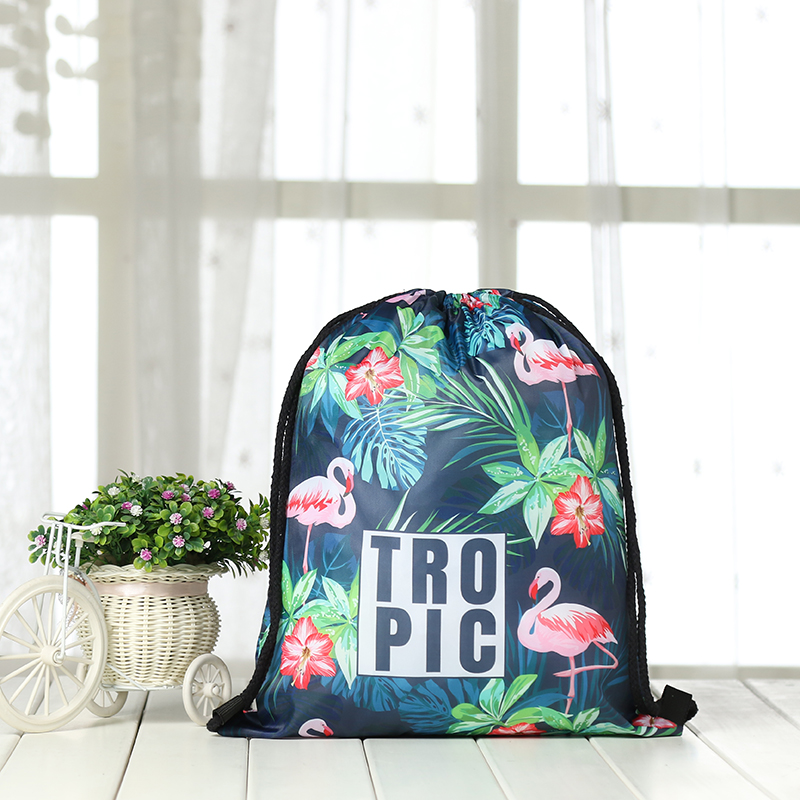 Drawstring Backpack Drawstring Bag  Fashion Women 3D Printing Travel Softback Men Casual Bags Unisex Women's Shoulder Flamingo