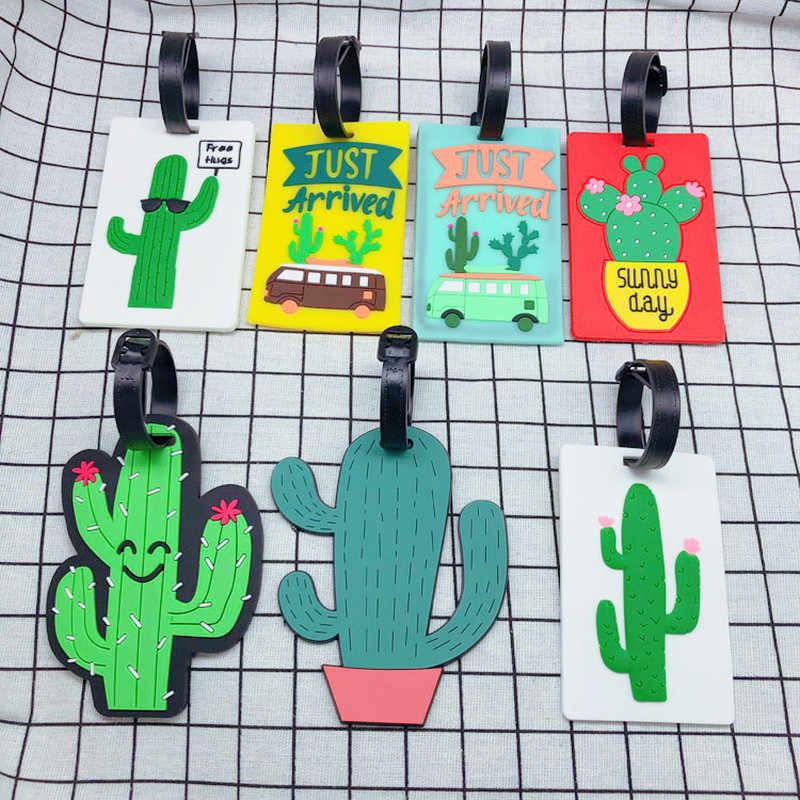 Reizen Accessoires Cactus Cartoon Bagagelabel Creatieve Silicagel Koffer ID Adres Holder Bagage Boarding Draagbare Label