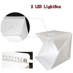 Image 4 - 2 LED מתקפל Lightbox 40cm נייד שולחן ירי Softbox צילום סטודיו תמונה Softbox מתכוונן בהירות אור תיבה