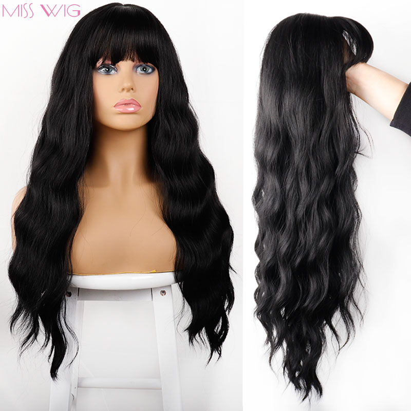 MISS Wig Long Womens Wigs Ombre Platinum Blonde Wigs Heat Resistant Part Side Synthetic Wavy Wigs For African American Women