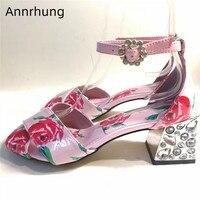 Sweet Rose Printed Pink Sandals Women Crossover Rhinestone Heel Shoes Peep Toe Chunky High Heels Crystal Jewelled Sandalias