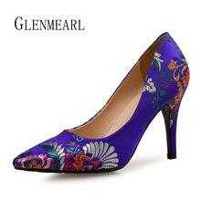 Frauen Pumps High Heels Schuhe Plus Größe Spitz Stickerei Kleid Schuhe Weibliche Dünne Ferse Einzelnen Hochzeit Schuhe Braut Pumpen TUN