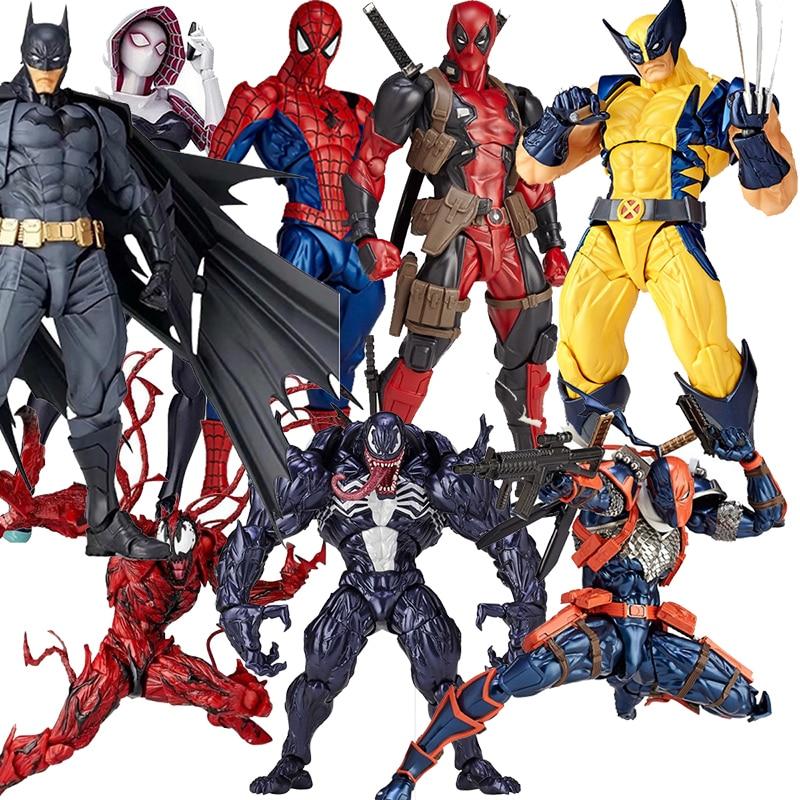 DC Amazing Yamaguchi Revoltech Deadpool GAMBIT X-MEN Magneto Batman Dark Knight X-Men Wolverine Logan Howlett Action Figure Toys