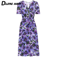 LINGHAN Fashion Floral Print Silk Dress Elegant V neck Short sleeve Sashes Party Dresses Designer Summer Women's New