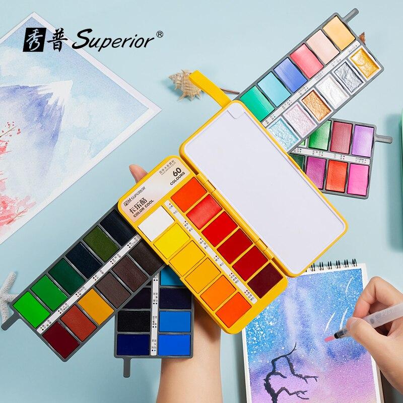 Акварельные краски в наборе, 36, 48, 60 цветов, складная краска с блестками, водяная кисть, для детей, взрослых, начинающих художников