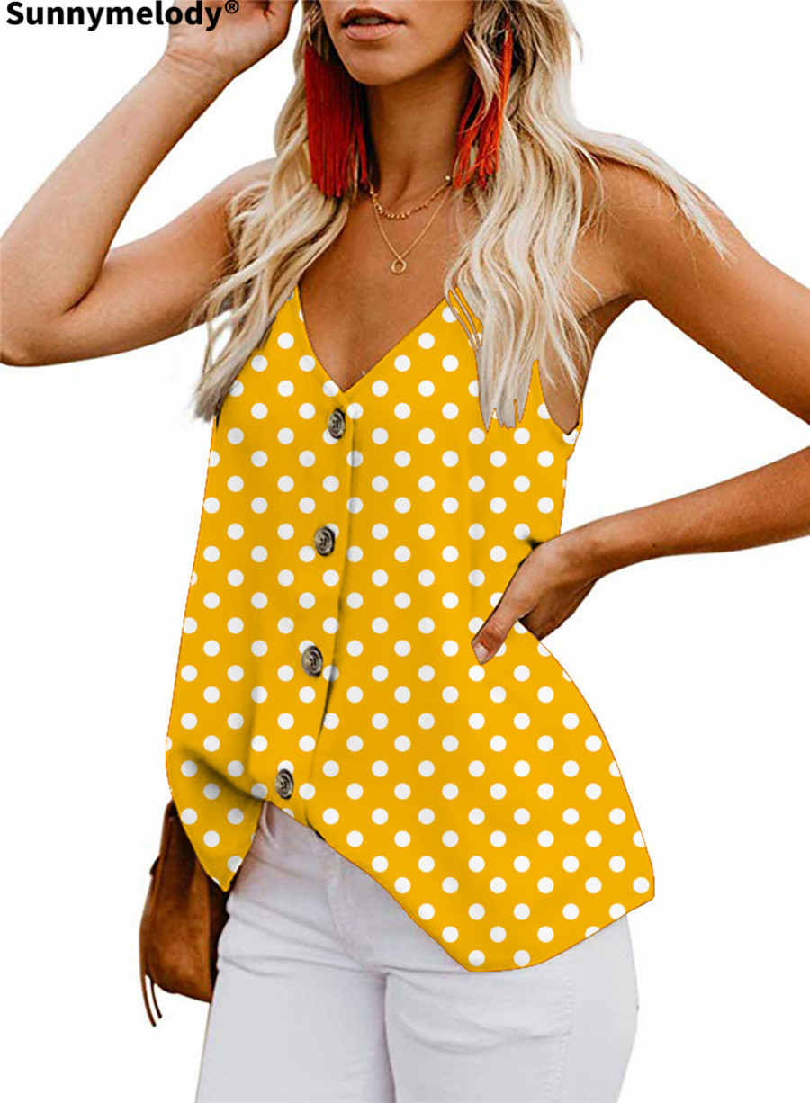 2020 new women's vest casual print top with suspenders summer vest button-up polka dot fashion women's wear