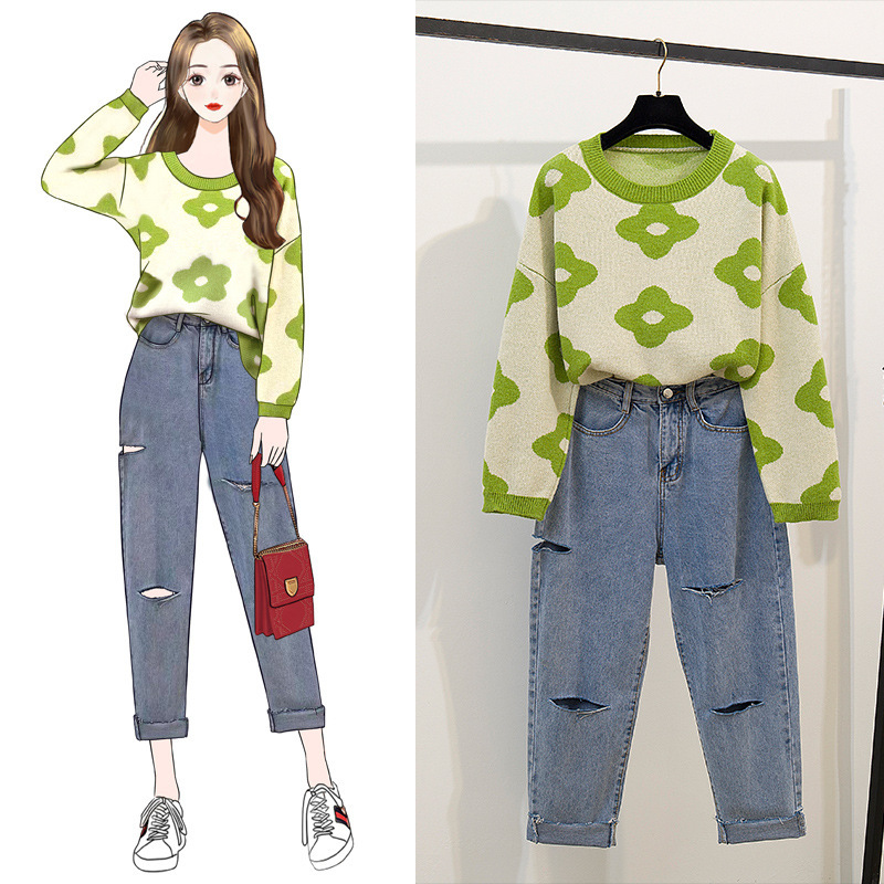 Photo Shoot 2019 Early Autumn New Style Laziness-Style Sweater Sweater Outer Wear Tops With Holes Loose-Fit Jeans WOMEN'S Suit