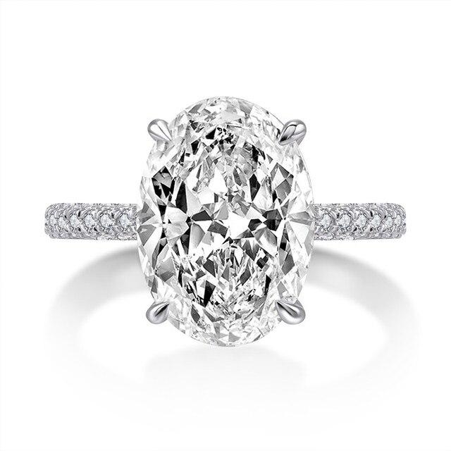 Фото роскошное 5 карат овальное кольцо для помолвки женщин из стерлингового