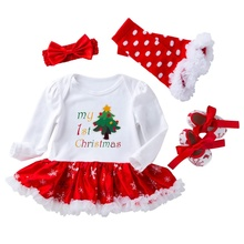 4Pcs Baby Clothes set Newborn Girl Brand Clothing sets Tutu Romper  Infant 0-2T Christmas Outfits
