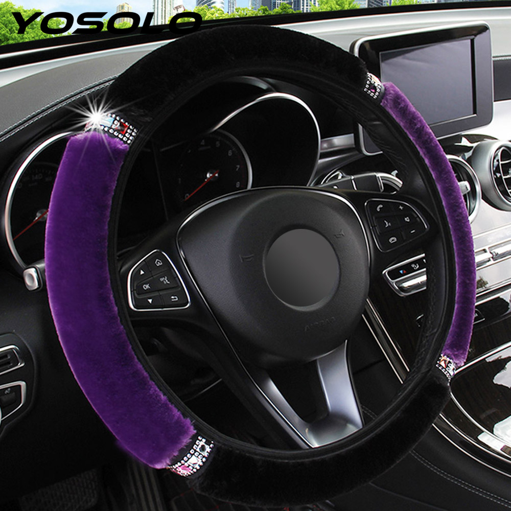 YOSOLO Universal 37-38cm Diameter Soft Plush Rhinestone Car Steering Wheel Cover Interior Accessories Steering-Cover Car-styling