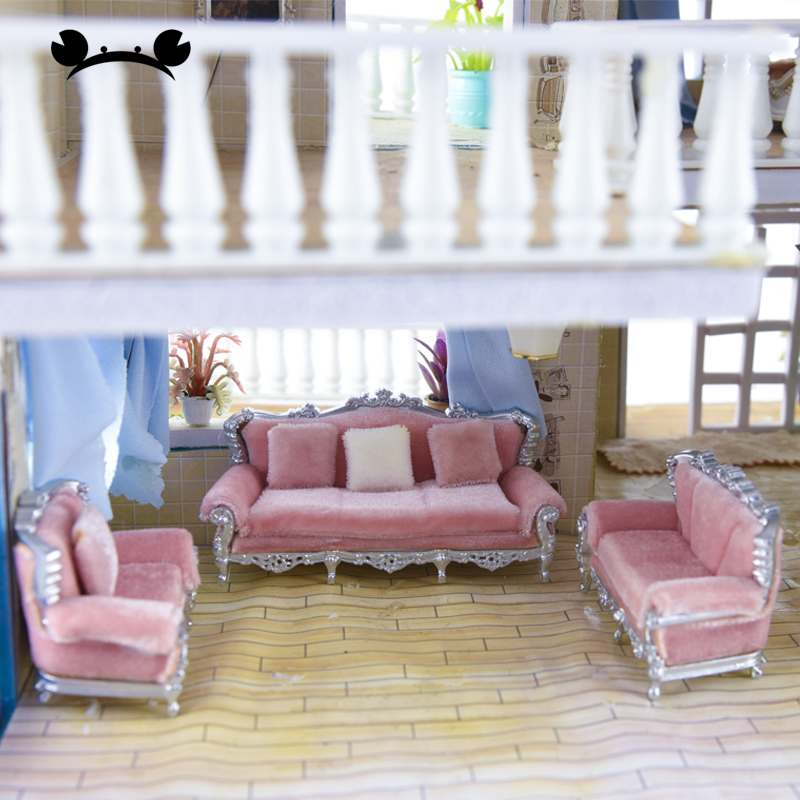 1/25 DIY Dollhouse Couch Sofa Chair Cushion Set European Style Miniature Furniture Toys