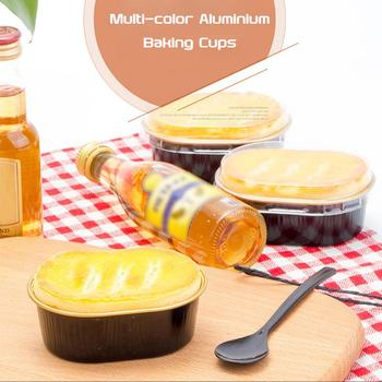 1/5/10Pcs Disposable Aluminium Baking Cups Multi-color Creme Brulee Dessert Oval Shape Cupcake Cups With Lids Cake Egg Tools image