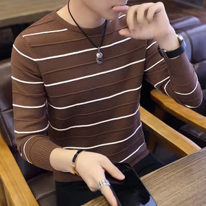 Mens Sweaters Wool Pullover Men Brand Clothing Casual O-Neck Sweater Man Long Sleeve Stripe Pull Homme for Winter Autumn Spring