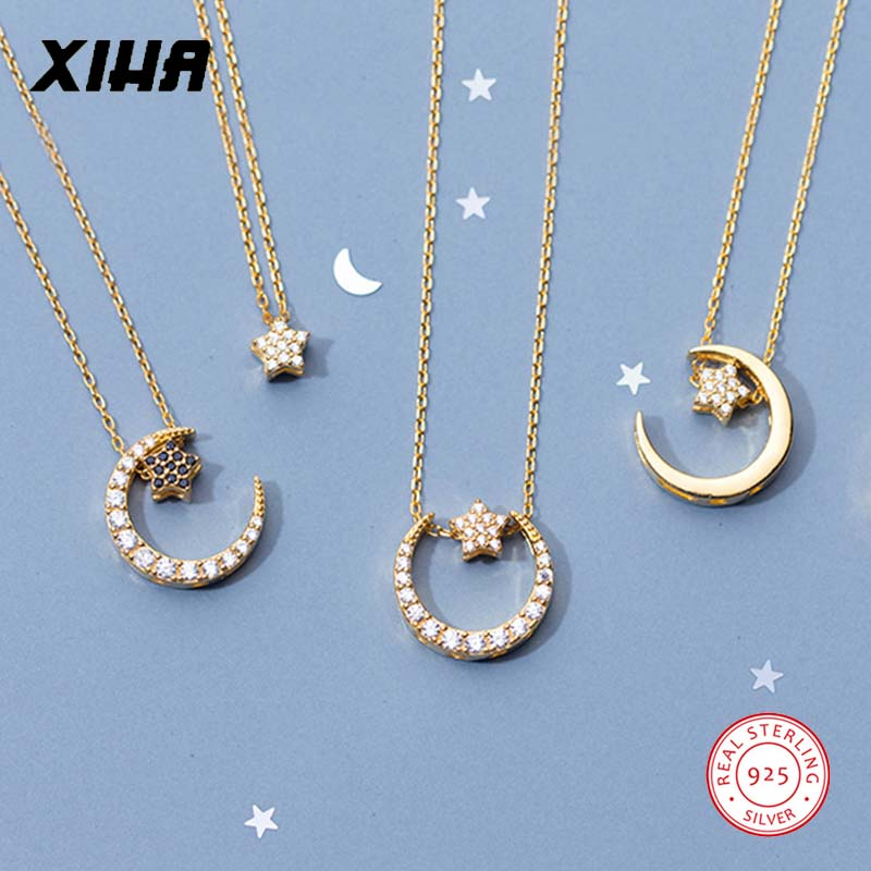 Gold 925 Sterling Silver Crescent Moon Star Necklace Choker for Women Crystal Statement Charm Necklaces Pendants for Girls Kid
