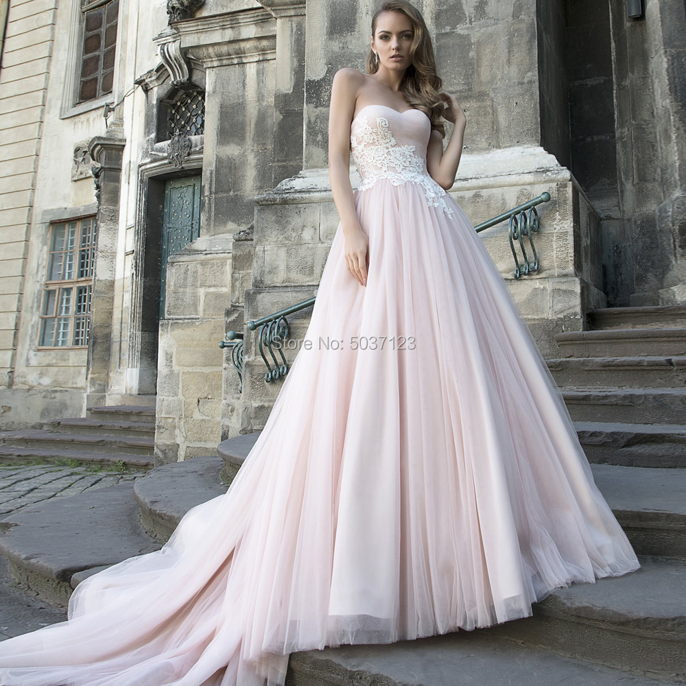 2020 Pink Tulle Wedding Dresses Off The Shoulder Strapless Lace Appliques Zipper A Line Vestido De Noiva Bridal Wedding Gowns