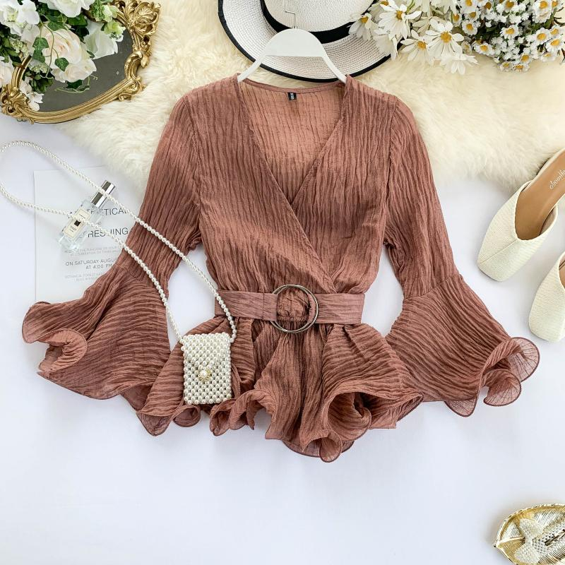 Autumn 2019 New Shirt Women's V Neck Long Flare Sleeve Chiffon Blouse Solid Color Fashion Tops J449