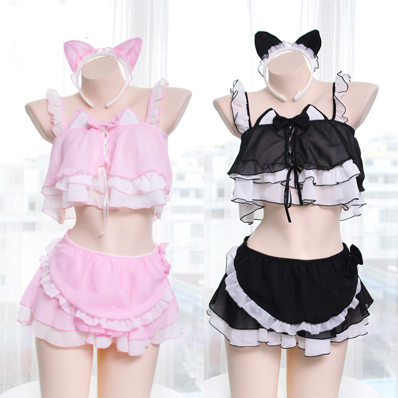 <font><b>Sexy</b></font> <font><b>Lolita</b></font> Women Anime Lingerie Set Kawaii Cat Girls Ruffles Camisoles Underwear Set Japan <font><b>Cosplay</b></font> Sleepwear Night Skirt image