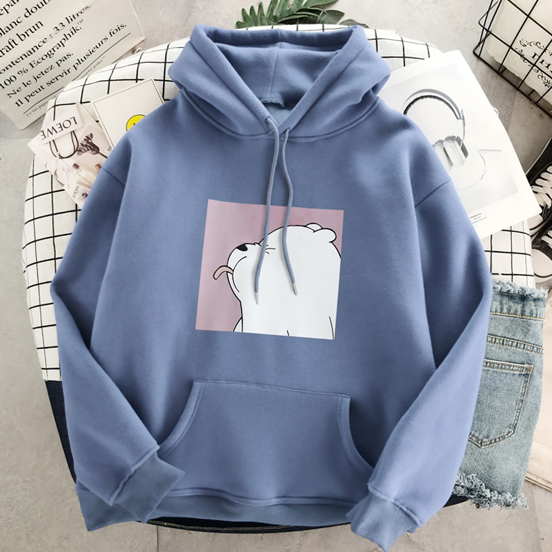 Harajuku Plus Velvet Casual Vintage Kpop Pullovers Hooded Ulzzang Women Version Loose Big Size Clothes Dropshipping Sweatshirts