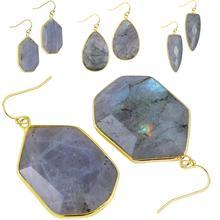 TUMBEELLUWA Labradorite Faceted Golden Hook Dangle Earrings for Women,Hexagon/Triangle/Teardrop Shape Stone Drop Charms