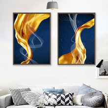 Абстрактная Золотая живопись фотография голубая ткань плакат