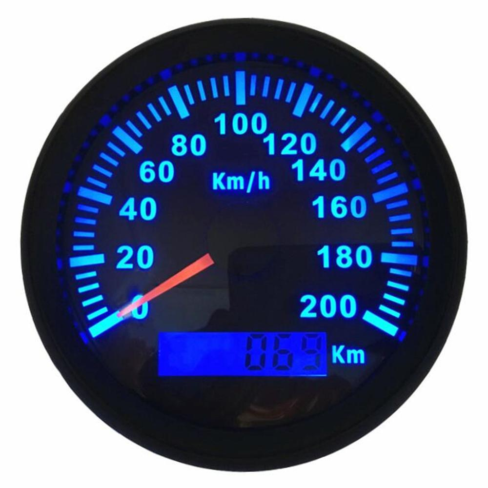 1 pc 85mm Auto Tuning Pengukur Hitam GPS Speedometer Ratemeters 0-200 km / h Tahan Air 316L Bezel dengan Backlight Biru dan Antena