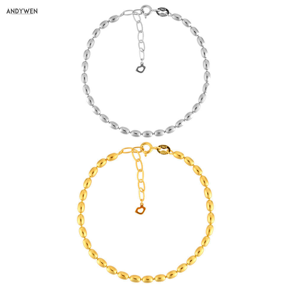 ANDYWEN 2020 New 925 Sterling Silver Gold Beads Charm Bracelet & Bangle Chain Fine Jewelry 2020 Rock Punk Fine Jewels