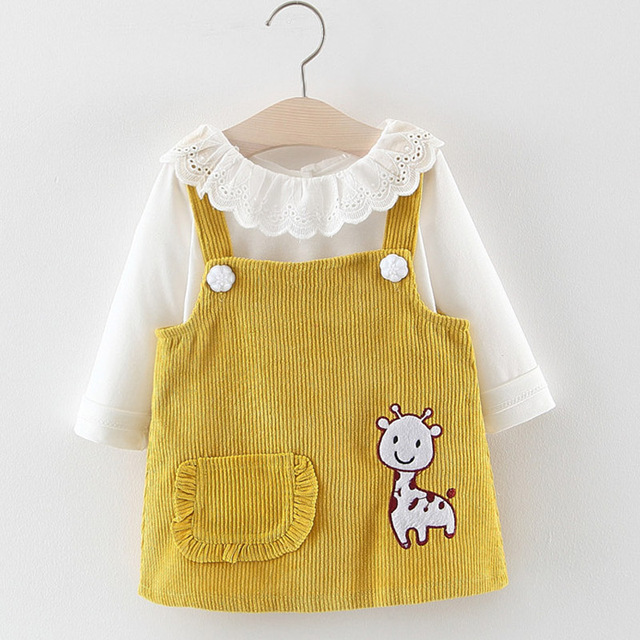 Melario Baby Girl Dress Autumn Baby Girl Princess Clothes Cute Girls Long Sleeve T-shirt Tops Cartoon Giraffe Dress 2pcs Suit 2