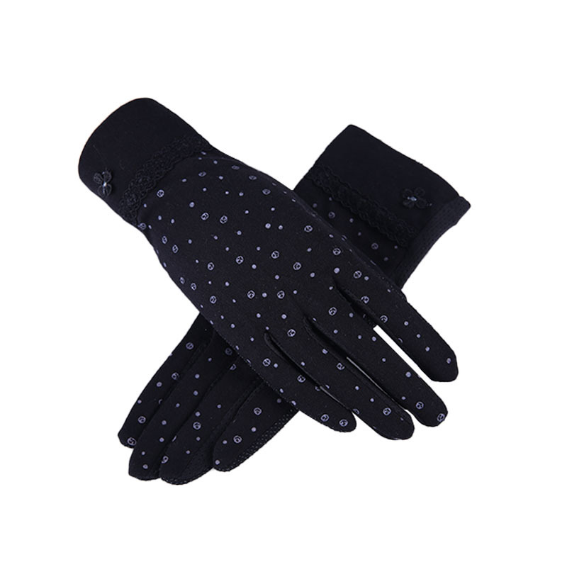 New Women Summer Gloves Touch Screen Driving Gloves Short Lace Flower Slip Resistant Sunscreen Outdoor Breathable Glove Guantes