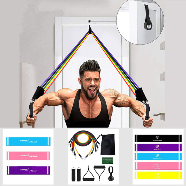 11 Pcs Elastic Resistance Bands Sets Training Workout Pull Rope Tubes Equipment 1