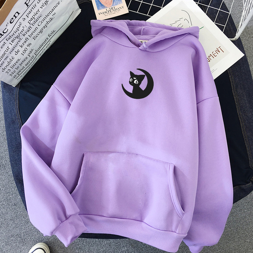 Moon Cat Print Warm Streetwear Kawaii Sweatshirt Korean Style Women Harajuku Hoody Girl Cute Hoodie Japan Punk Fashion Simple