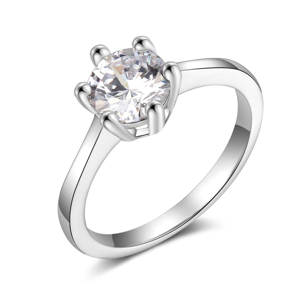 Promise кольцо из стерлингового серебра 925 с кубическим цирконием классические обручальные кольца для женщин подружки невесты подарки(JewelOra RI101321 - Цвет основного камня: R4000