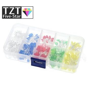 TZT 200 sztuk partia 3MM 5MM zestaw Led z pudełkiem mieszane kolor czerwony zielony żółty niebieski biały dioda elektroluminescencyjna asortyment 20 sztuk każdy nowy tanie i dobre opinie TZT Five-Star CN (pochodzenie) Przez otwór