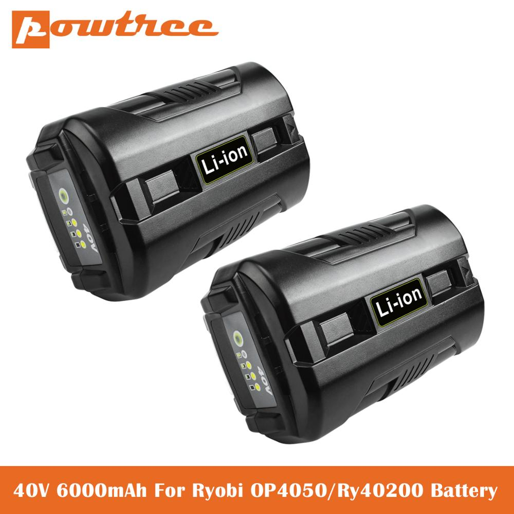 40V 6.0Ah Li-ion Battery for Ryobi OP4040 OP4026 OP4030 OP4050 OP4060A OP40201 OP40301 Collection Cordless Power Tools Battery