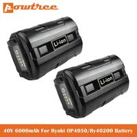 40V 6.0Ah Li ion Battery for Ryobi OP4040 OP4026 OP4030 OP4050 OP4060A OP40201 OP40301 Collection Cordless Power Tools Battery