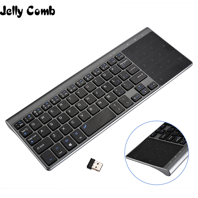 Jelly Comb Wireless Keyboard with Number Touchpad for Notebook PC Smart TV YR Thin USB Wireless Mini Keyboard Spanish Russian