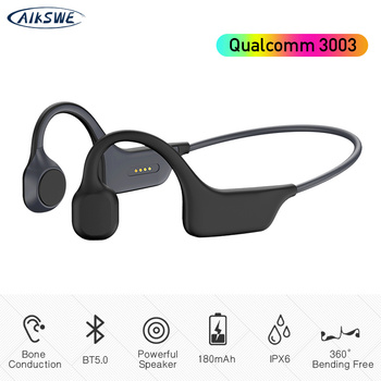 AIKSWE Bone Conduction Headphones Bluetooth wireless Sports Earphones IPX6 Headset Stereo Hands-free with microphone For Running sports wireless bluetooth headphone bone conduction stereo headset bt 4 1 neck strap earphone hands free earpiece for smartphone