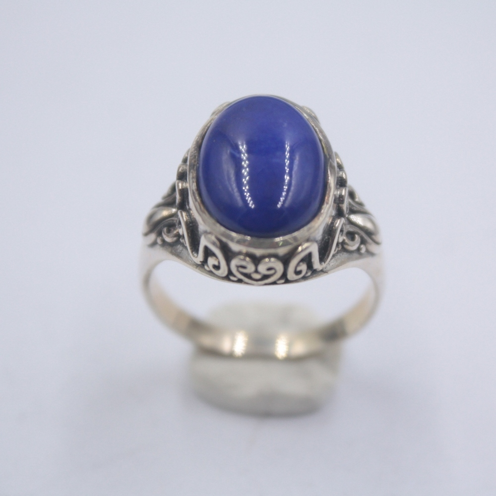 Solid 925 Sterling Silver Ring The Widest 16mm Lace Lapis Lazuli Ring