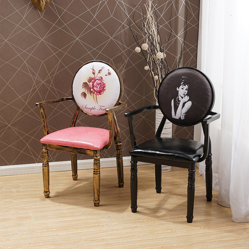 European Style Dining Chair Handrail Iron Art Chair Originality Makeup Backrest Economics Type Sedie Da Pranzo Modern