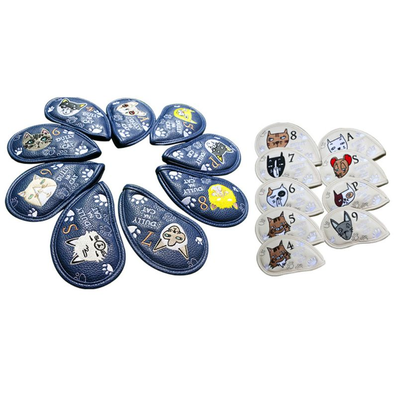 9 Pcs Portable Golf Club Headcovers Cute Cartoon Cat Pattern PU Waterproof Fairway Hybrid Putter Cover Set Vintage