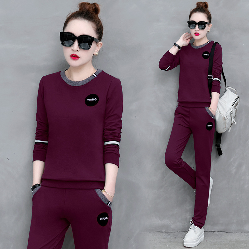 Sports Clothing WOMEN'S Suit Spring And Autumn 2020 New Style Casual WOMEN'S Dress Autumn Running Fashion Korean-style Long Slee
