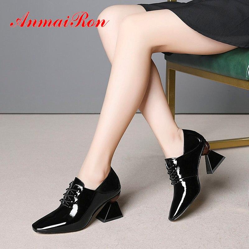ANMAIRON 2020 basique en cuir verni bout pointu femmes talons hauts bureau et carrière femmes pompes à lacets talons Sexy femmes chaussures 34-43
