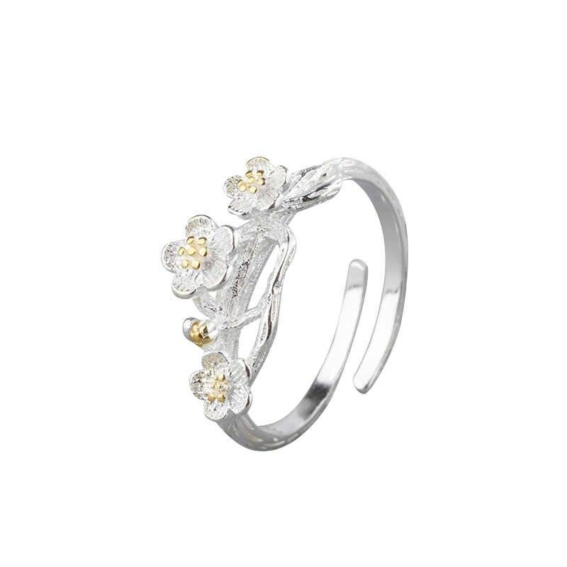 2019 nuevo anillo de Plata de Ley 925 para mujeres anillo de apertura creativo en flor de ciruelo joyería tendencia Europa y América