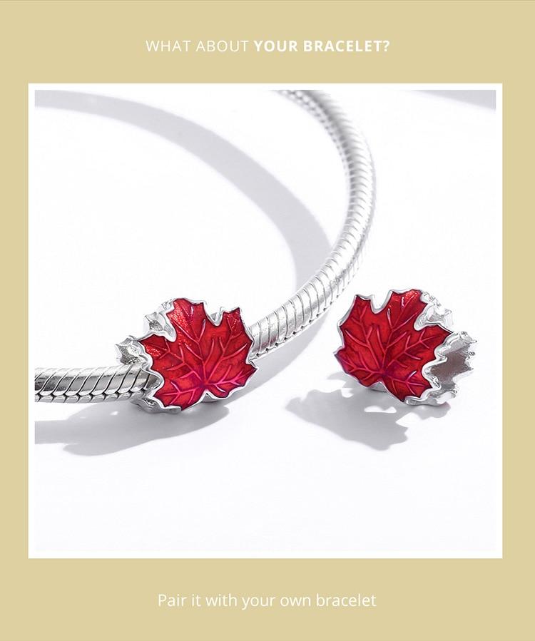 Genuine 925 Sterling Silver Maple Leaves Enamel process Original silver Charm for Brand DIY Bracelet Jewelry