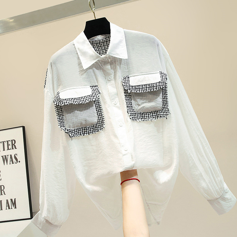 Automne chemise à manches longues pour femmes 2019 nouveau Style Hong Kong chemise blanche Femme dame noir Blouse à revers Blusas tops basiques Nancylim