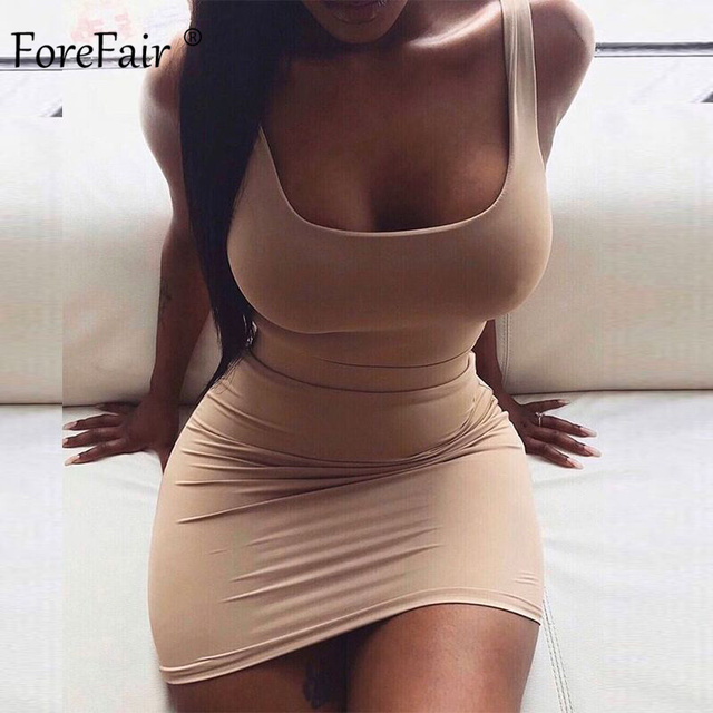 Forefair Solid Summer Dress Sexy Square Neck Casual Close Fitting Off Shoulder Short Bodycon Stretchy 2020 Dress Women 1