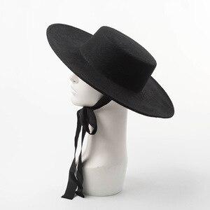 Image 2 - באיכות גבוהה סתיו חורף פדורה כובע אישה כובע אופנה גדול נשים צמר כובע שטוח למעלה גבירותיי רחב שוליים כובע לחורף