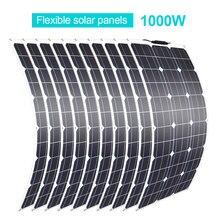 Panel Solar Flexible, 100 w, 200 w, 600w, 700w, 800w, 900w, 1000w, RV célula para/Barco/coche/casa, cargador de batería de 12V/24V