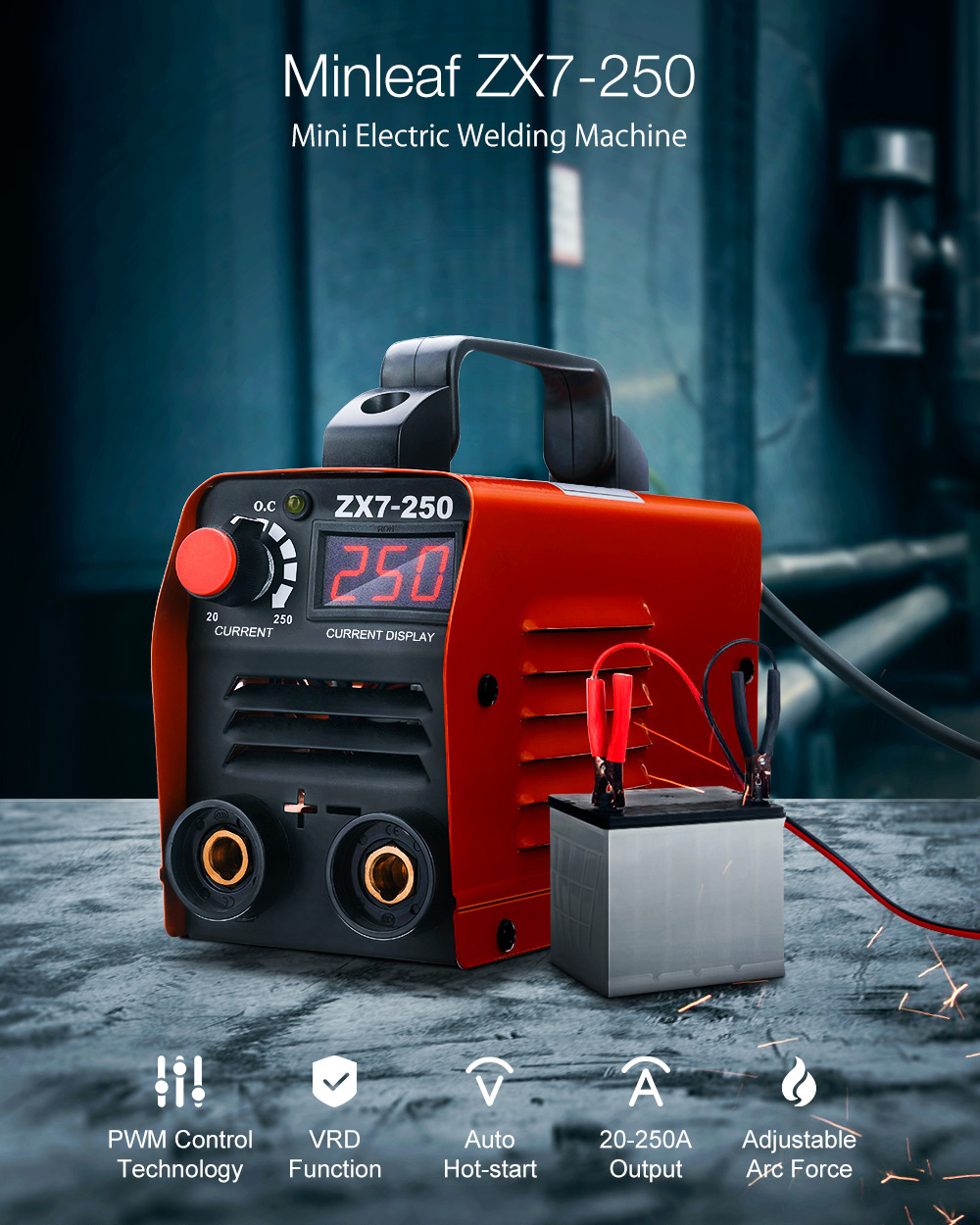 ZX7-250 250A Mini Electric Welding Machine Portable Digital Display MMA ARC DC <font><b>Inverter</b></font> Plastic-welder Weld Equipment image