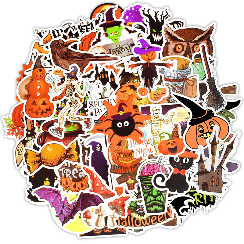 50 PCS Halloween Funny Stickers Gift All Hallow Mas Pumpkin Witch Cute Graffiti Sticker To DIY Notebook Cup Room Decoration F4