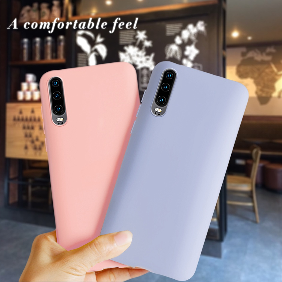 Candy Color Silicone Phone Case For Huawei P30 Case huawei P 30 ELE-L29 Cute Soft TPU Coque Funda For Huawei P30 Cover Bumper
